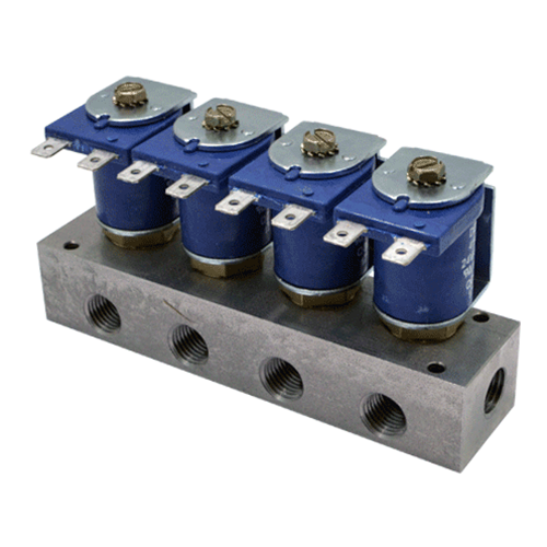 "DEMA Stainless Steel Manifold Valves, Metering, 1/4"" NPT Four Station with Spade Coil"